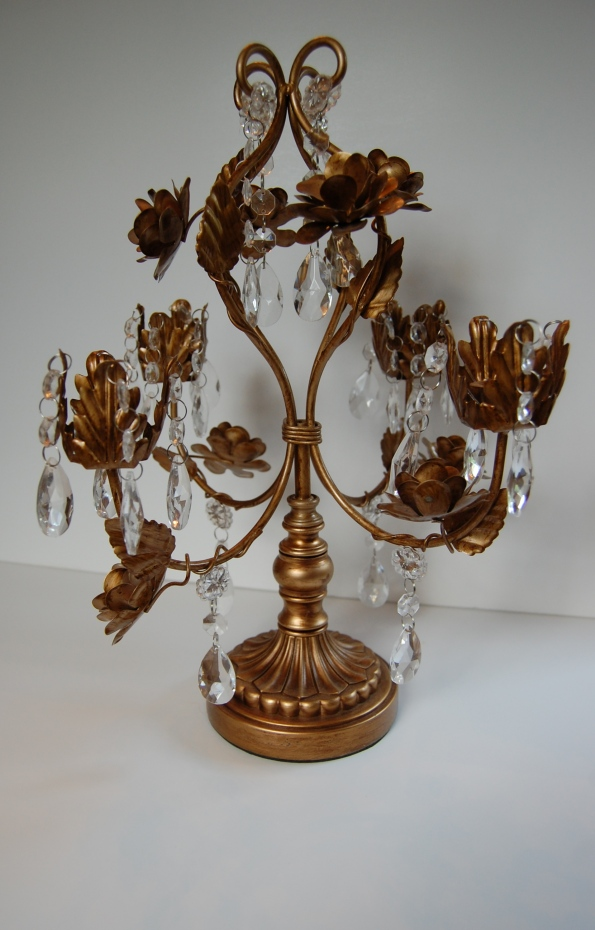 Antique brass and crystal candelabra
