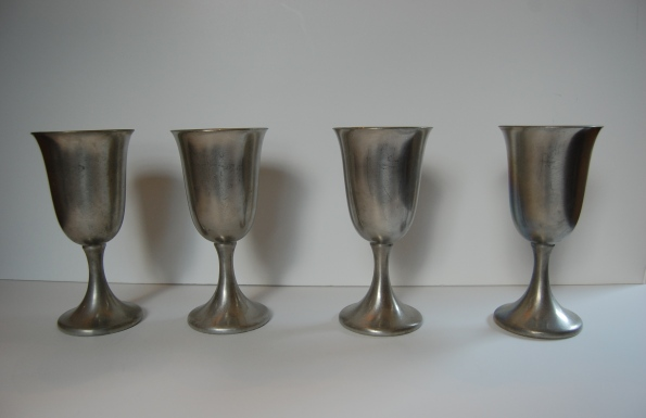 Set of four pewter goblets