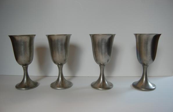 Set of four pewter goblets