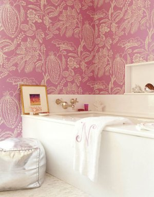 pink wallpaper with bright white bath fixtures