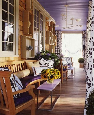 Natural wood accents with purple prints