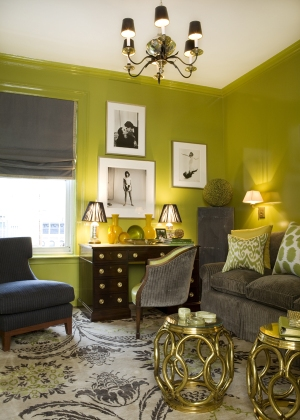 Green and gray with gold accents