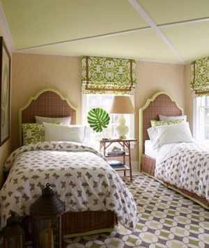 Green and brown twin bedroom