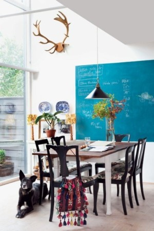Birch and bird bright blue wall dining room
