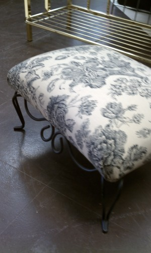 Black and white floral low ottoman