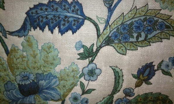 Blue and green floral headboard