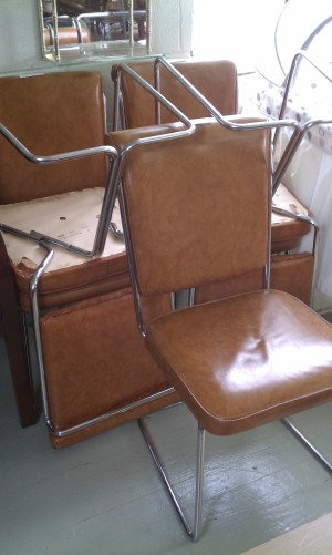 Cognac vinyl and chrome chairs