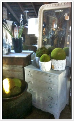 White dresser with mirror and greenery