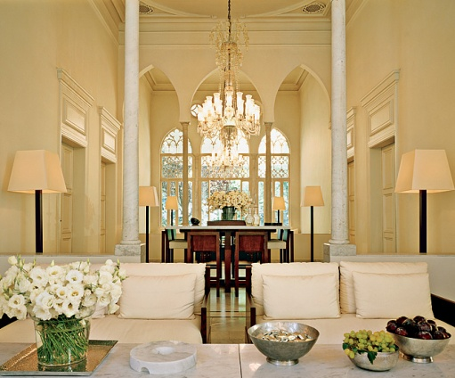 White, cream, tall ceilings and archways