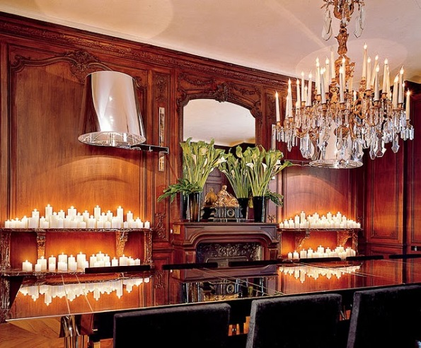Wood paneling, crystal chandelier