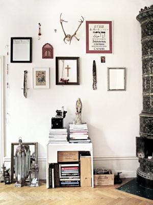 Emmas Design blog via Style Files white walls and milk crates
