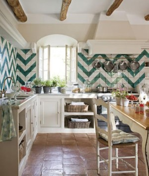 Green and white chevron tile in Kitchen