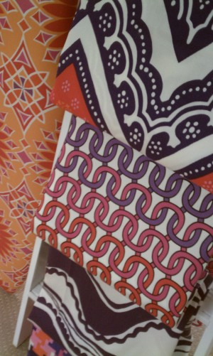 Trina Turk Surf board and fabric samples