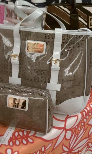 Trina Turk make up bag and tote
