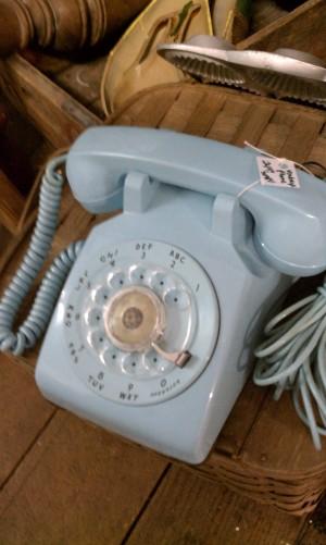 Light blue rotary phone