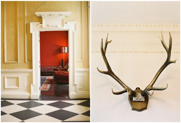 caramel walls, red, and antlers