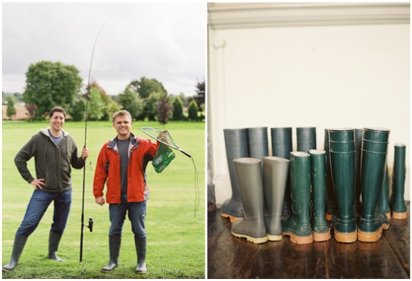 fishermen and green hunter boots