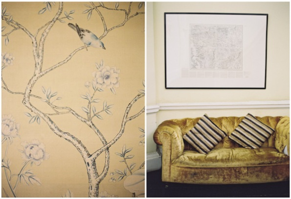 wallpaper and old gold velveteen sofa