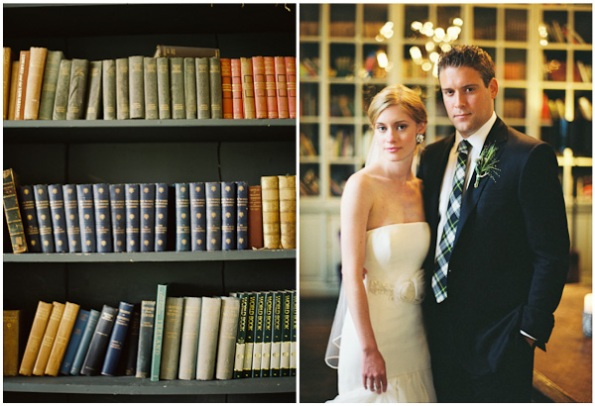 leather bound books and the bride and groom