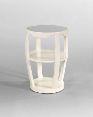 milan chairside table with mirror insert