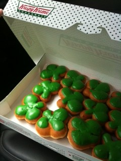 Shamrock donuts for Kev's birthday