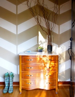 chevron wall with plaid boots via pinterest