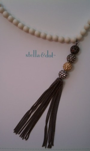 Stella and Dot necklace pearl pave tassel