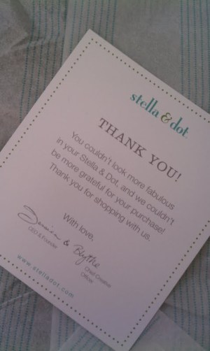 Stella and Dot thank you card