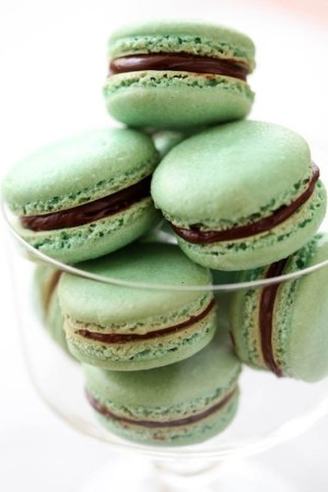 Mint and chocolate macaroons
