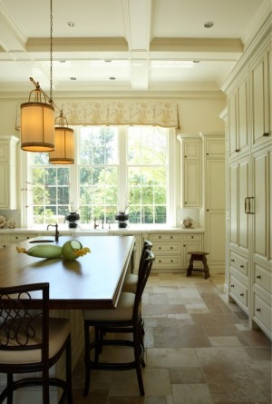 Coffered ceiling in Kitchen with pendant lights