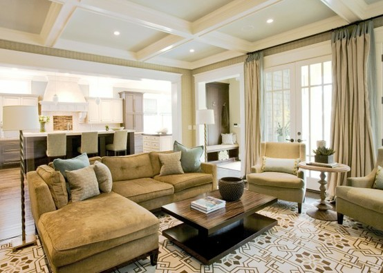 Coffered ceiling in family room with sectional