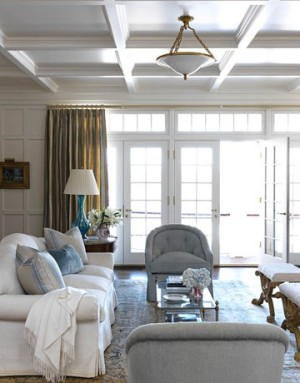 Coffered ceiling in blue family room
