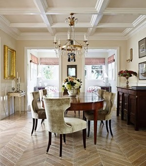 Coffered ceiling in dining room with chevron floor
