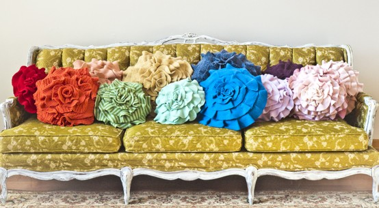 Rainbow pillows on sofa