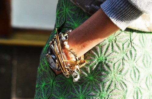 Bangles and Balenciaga Skirt via JAK and JiL