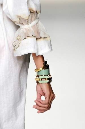 Chunky mint and gold bracelets by Fendi