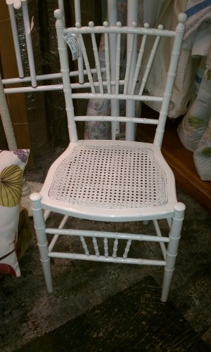 White bamboo chair from Gallery St. Elmo