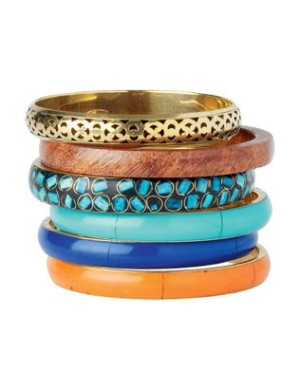 Tall stack of blue gold orange and wood bangles