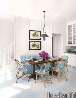 House Beautiful turquoise chairs and banquette may cover