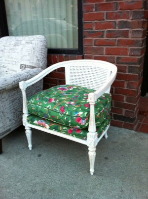 White painted wood cane chair after