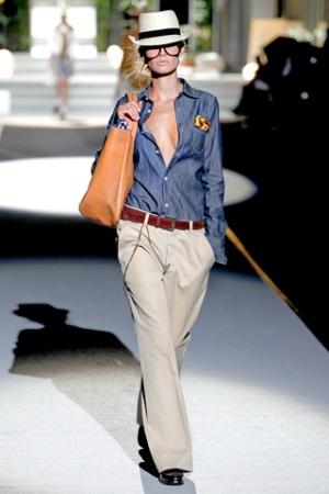 Denim shirt with khaki pants