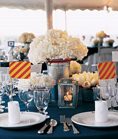 Centerpiece idea with buckets and hydrangeas