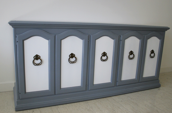 Blue and white painted wood buffet after