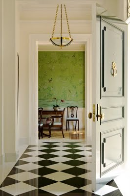 black and white floor with green chinoiserie room