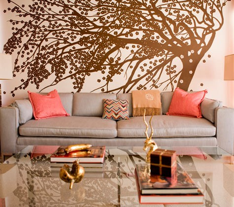 Peach and gray with gold tree