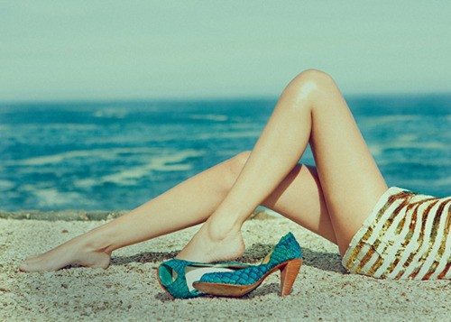 Gold sequins shoes and turquoise shoes
