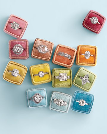 Engagement rings in multi-colored boxes
