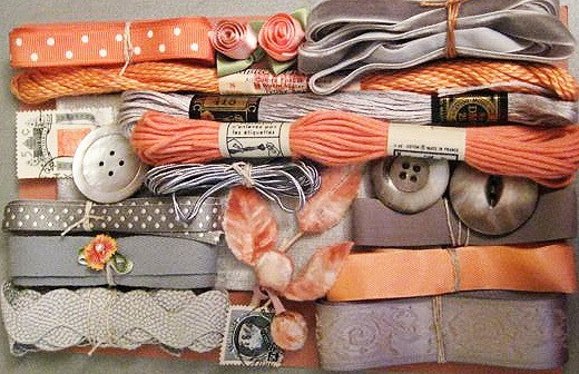 Gray and peach ribbon and embroidery floss