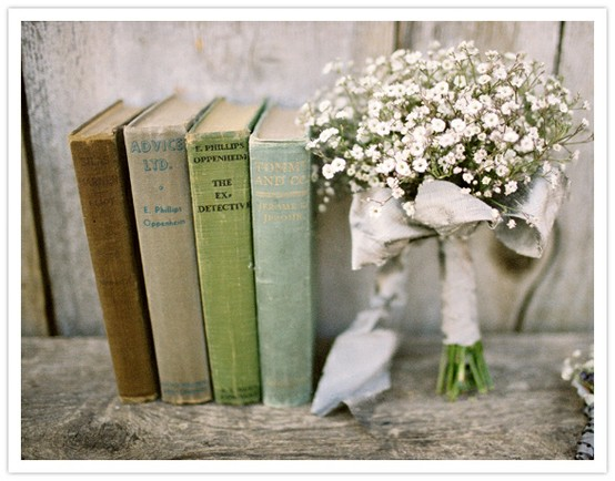 Babys breath bouquet and old books