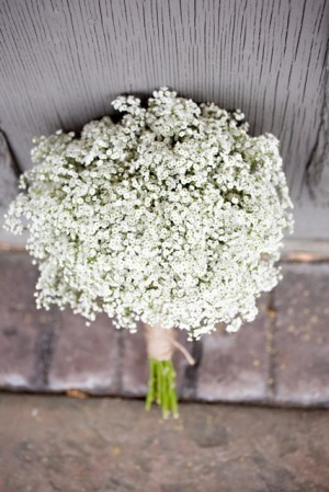 babys breath bouquet from above